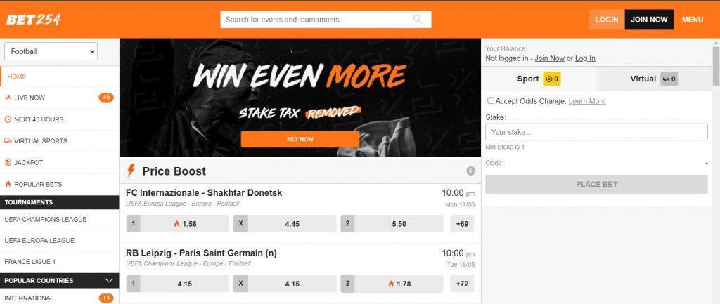 Bet254 home page. SpesaLink Bet254 betting tips